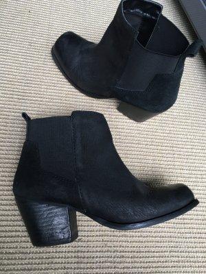 Ankle Boots H & M schwarz Leder und Wildleder, GR. 38