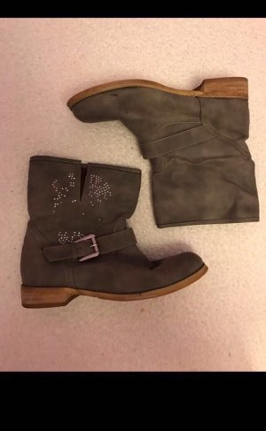 Ankle Boots in grau mit Steinchen