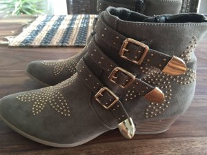 Ankle Boots Khaki Nieten Gold