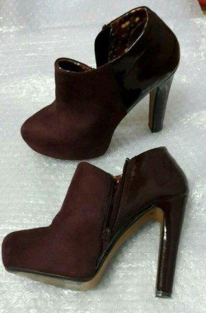 ankle boots kunstleder lack dunkelrot rot heels burgunder