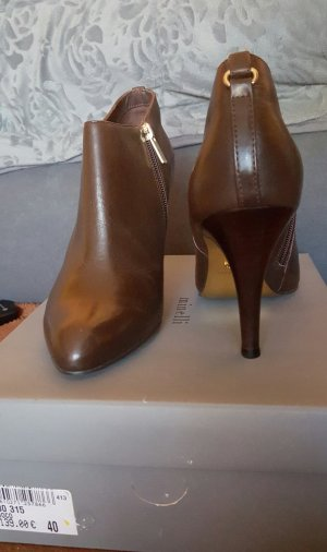 minelli Zipper Booties brown leather