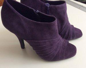 Ankle Boots Peeptoe High Heel Pumps Stiefeletten Lila Wildleder Gr 37 Neu VIA UNO
