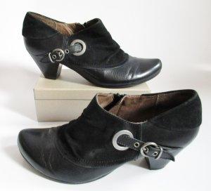 Ankle Boots Schwarz Caprice Größe 6,5 40 Leder Booties Hochfront Pumps Spitz Schnalle Monk Schuhe Slouch