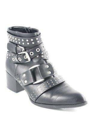 Ankle Boots schwarz-silberfarben Urban-Look