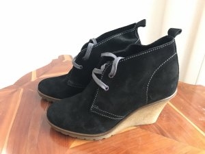 Ankle Boots Stiefelchen Schwarz Wildleder Keilabsatz Boden Gr. 36