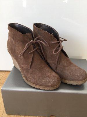 Ankle Boots Stiefeletten Plateaustiefeletten Keilabsatz Wildleder braun