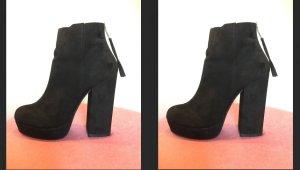 Ankle Plateau Boots Stiefeletten Wildleder zip dicker Absatz Blogger zara