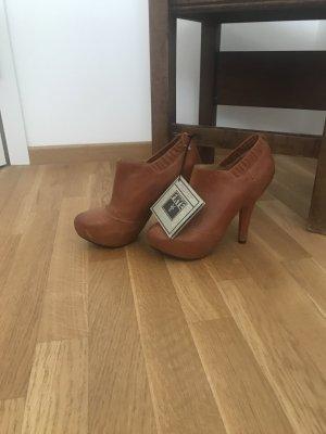 Ankleboots Damen, cognac Leder