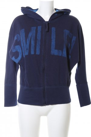 Ann Christine Sweat Jacket blue themed print casual look