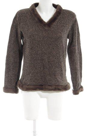 Ann LLewellyn Maglione lavorato a maglia marrone puntinato stile stravagante