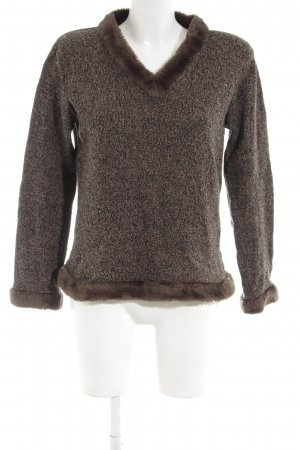 Ann LLewellyn Knitted Sweater brown flecked simple style