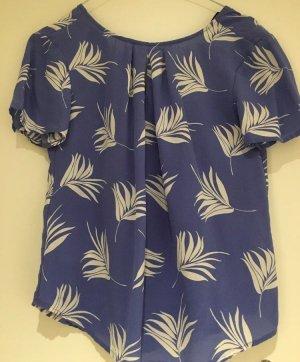 Ann Taylor Blouse à manches courtes bleu azur-blanc