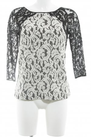 Ann Taylor Lace Blouse natural white-black floral pattern lace look