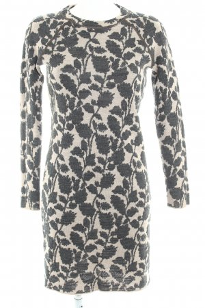 Ann Taylor Knitted Dress beige-black floral pattern simple style