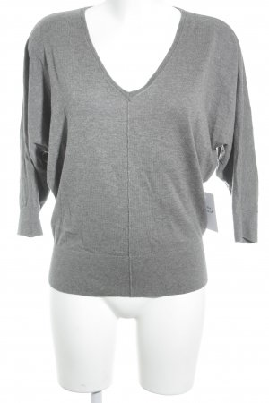 Ann Taylor V-Neck Sweater grey flecked casual look