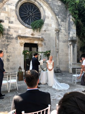 Campbell Wedding Dress oatmeal-white silk