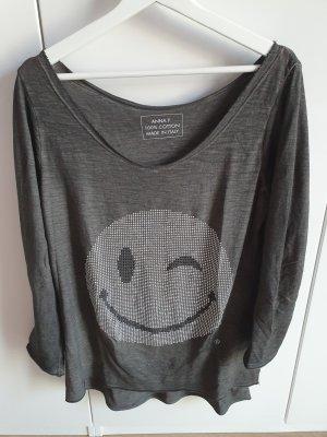 Anna F. (Italienische Designerin) Longtop grau mit Pailetten-Smiley