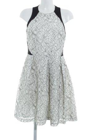 Anna Field A-Linien Kleid weiß-schwarz florales Muster Elegant