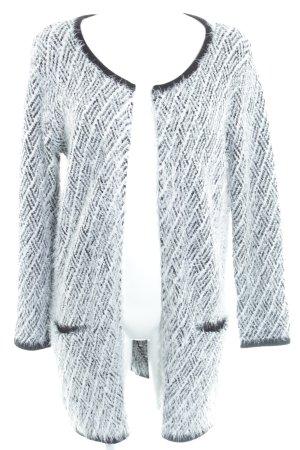Anna Field Cardigan weiß-schwarz Ikatmuster Kuschel-Optik