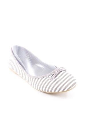 Anna Field faltbare Ballerinas grau-weiß Streifenmuster Casual-Look