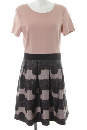 Anna Field Jurk met korte mouwen stoffig roze-zwart abstract patroon elegant
