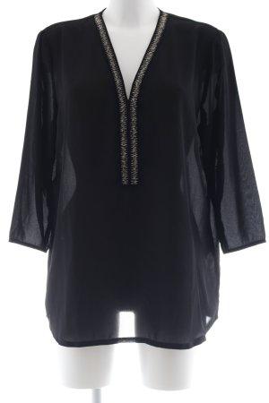 Anna Field Langarm-Bluse schwarz-silberfarben Elegant