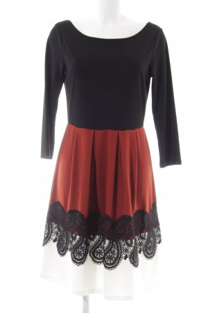 Anna Field Langarmkleid schwarz-rot Vintage-Look