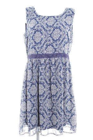 Anna Field Midikleid dunkelblau-weiß abstraktes Muster Romantik-Look
