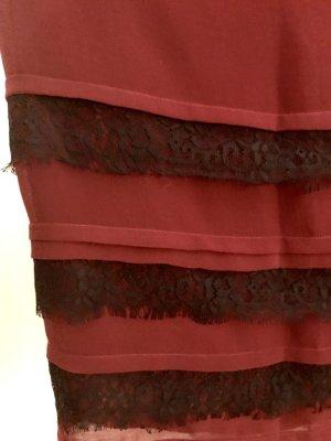 Anna Field Minirock rot mit schwarzem Spitzenbesatz 36