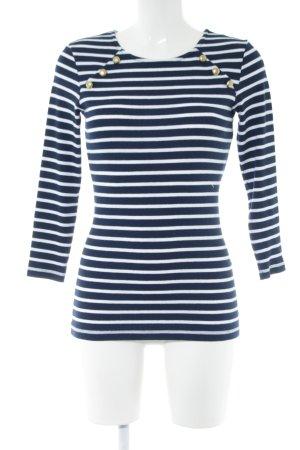 Anna Field Rundhalspullover blau-weiß Streifenmuster Casual-Look