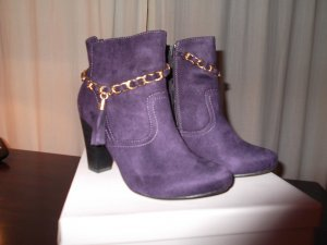 Scarpina di lana viola scuro Finta pelle