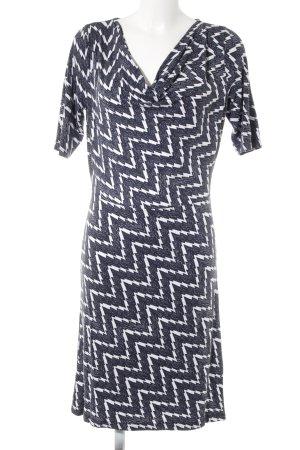 Anna Field Stretchkleid dunkelblau-weiß Zackenmuster Elegant