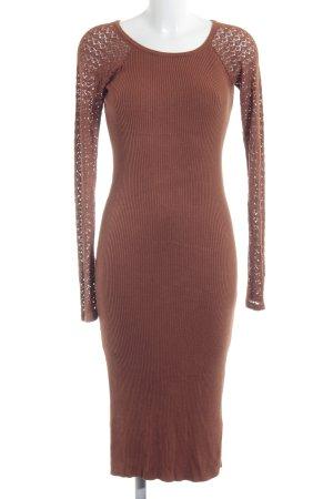 Anna Field Gebreide jurk cognac losjes gebreid patroon elegant