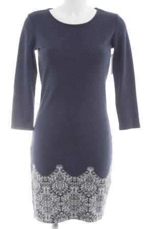 Anna Field Strickkleid dunkelblau-weiß abstraktes Muster Casual-Look