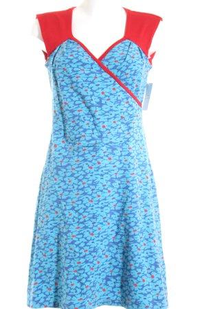 Anna Münch Kurzarmkleid rot-hellblau florales Muster extravaganter Stil