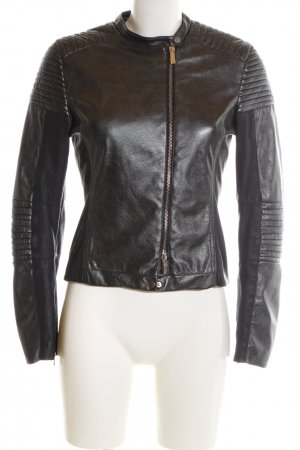 Anna Rita N Faux Leather Jacket black quilting pattern business style