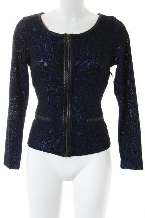 Anna Scott Chaqueta tipo blusa negro-azul estampado floral estilo clásico