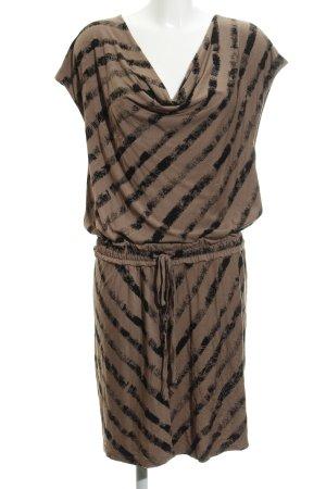 Anna Scott Abito jersey marrone chiaro-nero motivo a righe stile casual