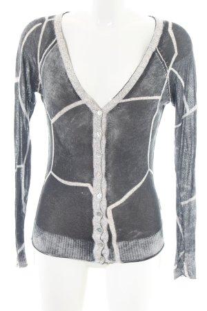 Anna Scott Cardigan tricotés gris clair-crème motif abstrait