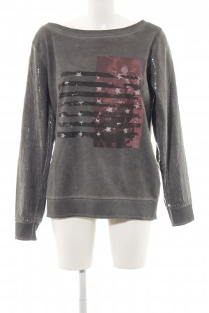 Anna Scott Sweat Shirt carmine-dark grey themed print casual look
