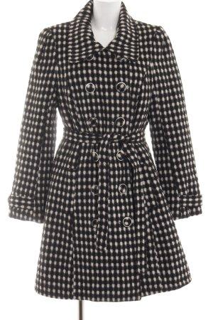 Anna Scott Cappotto in lana nero-bianco sporco motivo a pallini elegante
