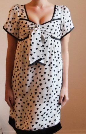 Anna Sui Robe Babydoll noir-blanc soie