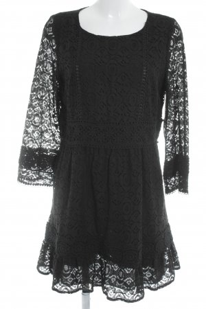 Anna Sui Lace Dress black floral pattern elegant