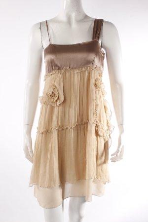 Anna Sui Robe à bretelles gris brun-crème soie