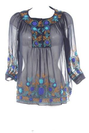 Anna Sui Blusa a tunica blu scuro motivo floreale stile da moda di strada