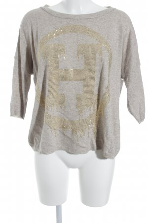 Annaeffe Crewneck Sweater beige Sequin ornaments
