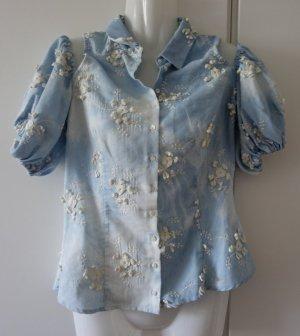 Anne Fontaine Paris Designer Bluse mit Blütenapplikationen Gr. 38 (S/M) Romantik