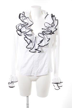 Anne Fontaine Ruche blouse wit-zwart romantische stijl