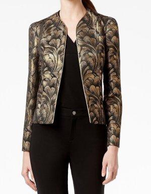 Blazer court doré-noir polyester