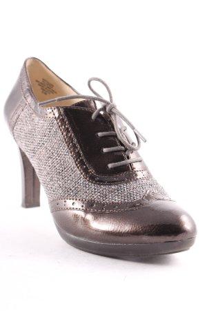 Anne Klein High-Front Pumps bronze-colored-grey patent leather appliqué